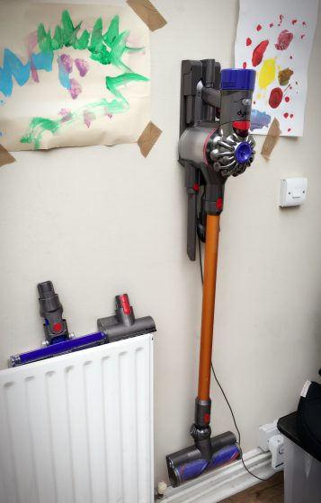 The Dyson V8 Absolute is kept in its charging bay in the conservatory. Always ready to tackle any job!