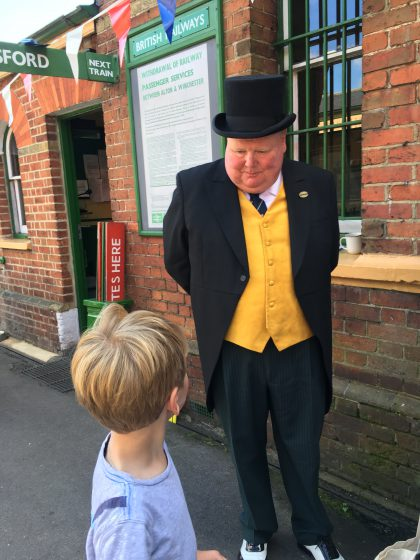 Oscar chatting to Sir Topham Hatt