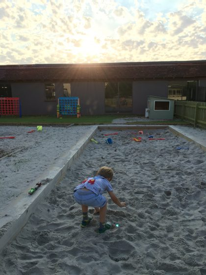 Prebreakfast sand pit action.