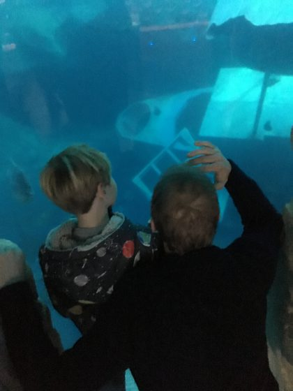 father and son at aquarium