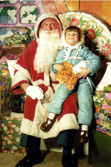 1980s child with father christmas