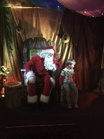 Oscar chose to go and sit with Santa. Even if he didn't want to look at him!