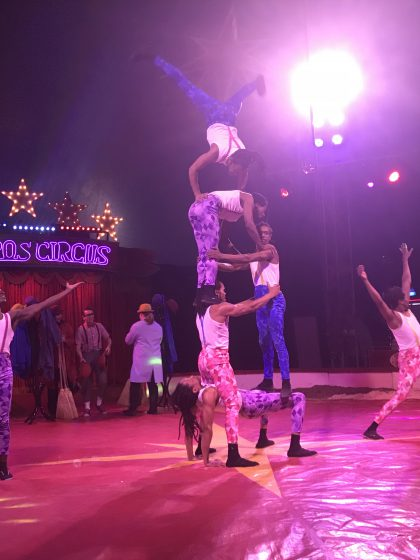 African acrobats in formation