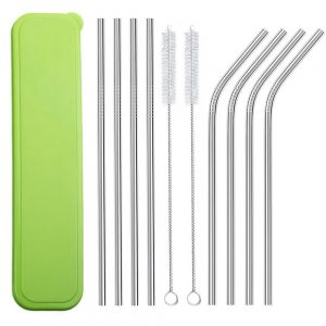 Metal straws and case